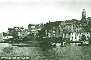 Hydroplane in Korcula port in 1915