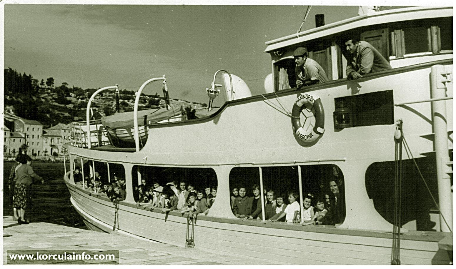 Jadrolinija's Ferry Marin Drzic @ Riva, Korcula in 1959