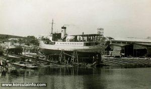 Steamboat in Korcula Shipyard (1950s)