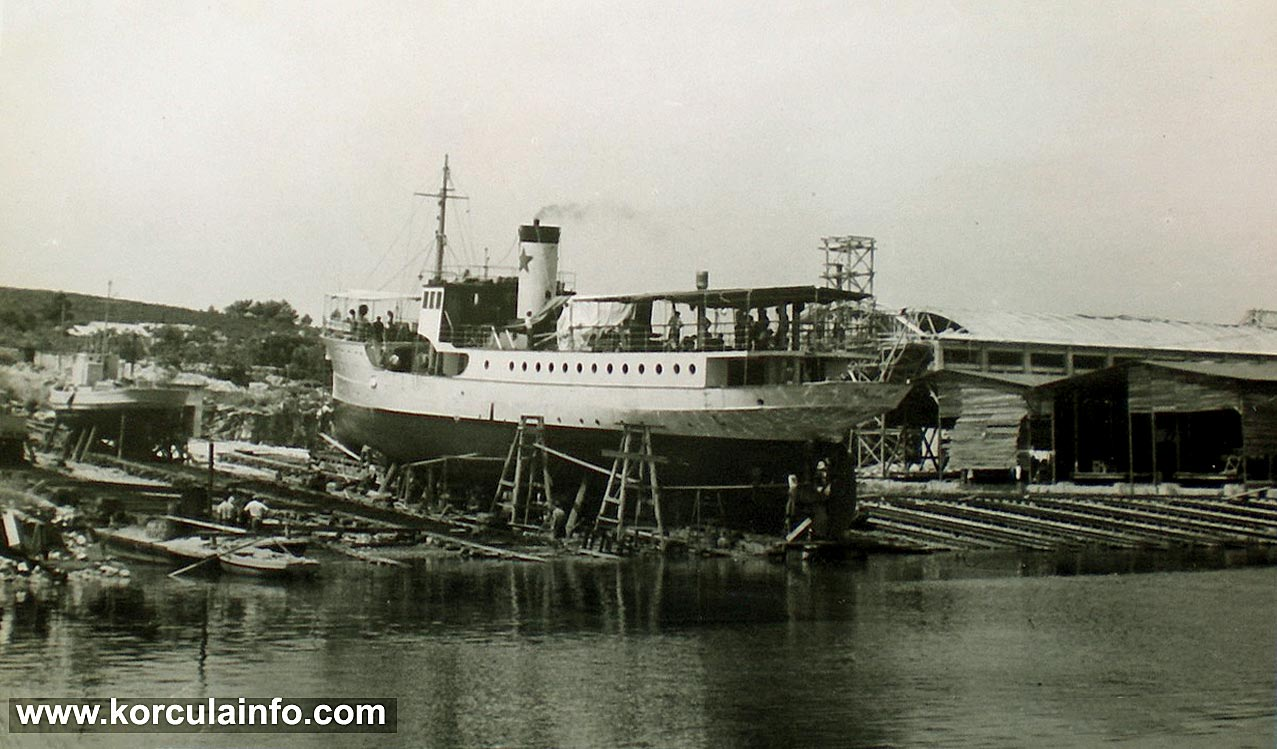 Steamboat in Korcula Shipyard (1950s)