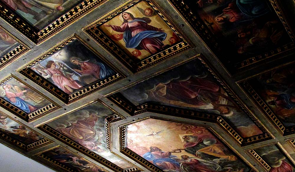 coffered ceiling painted by Tripo Kokolja around 1713