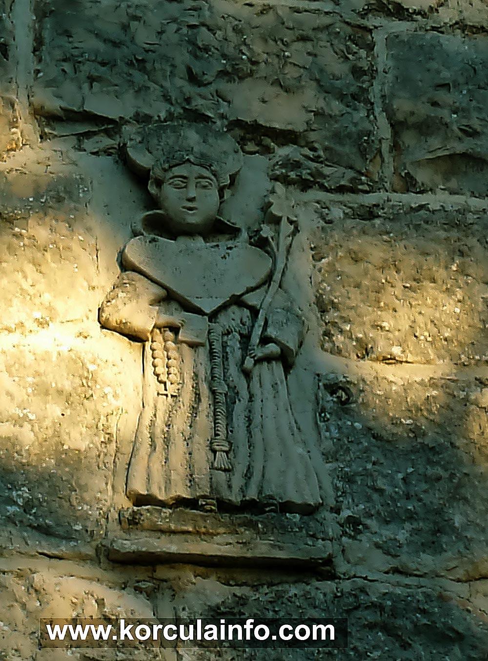 St Antony's relief / plaque on church facade