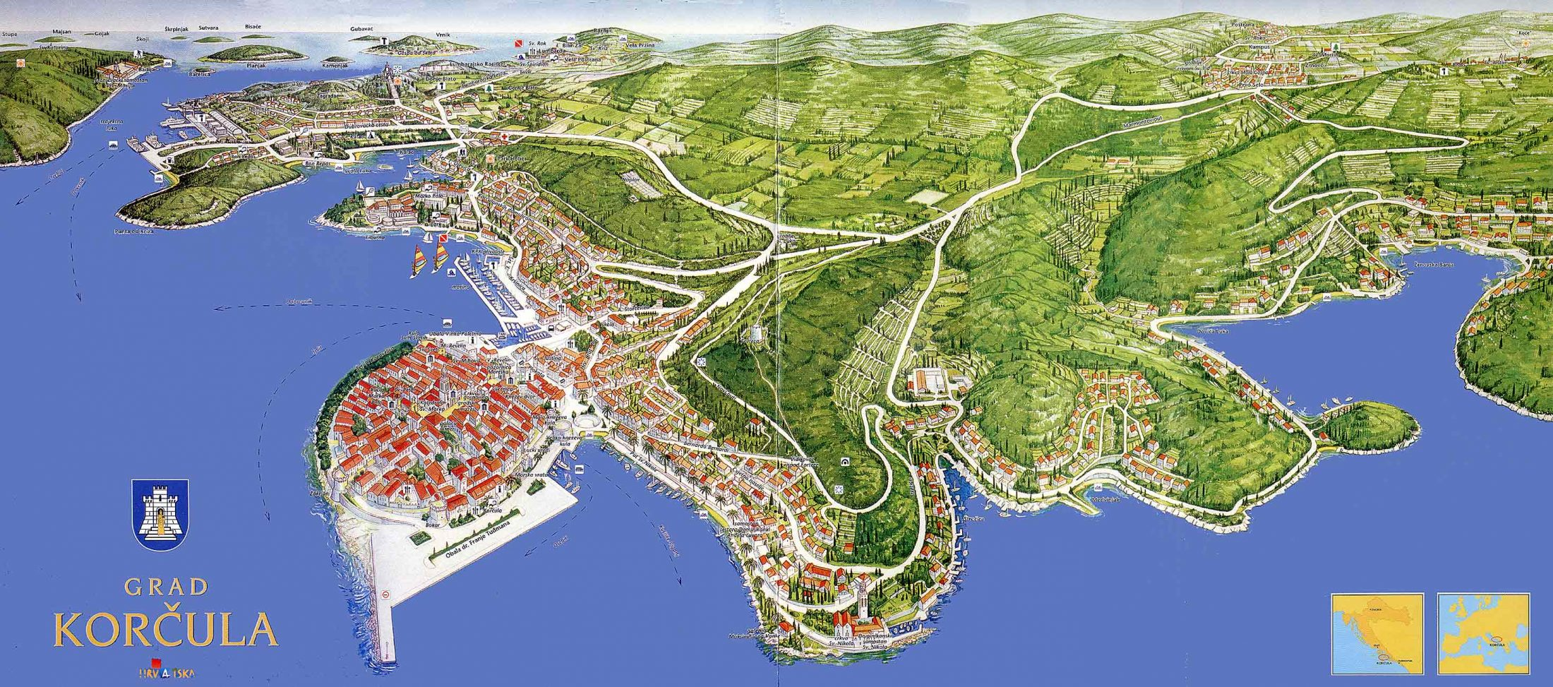 MAP OF KORCULA - 3 d tourist info map