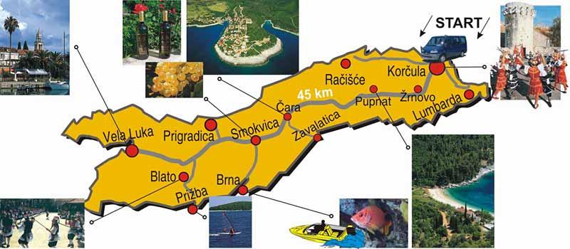 map of korcula island tour