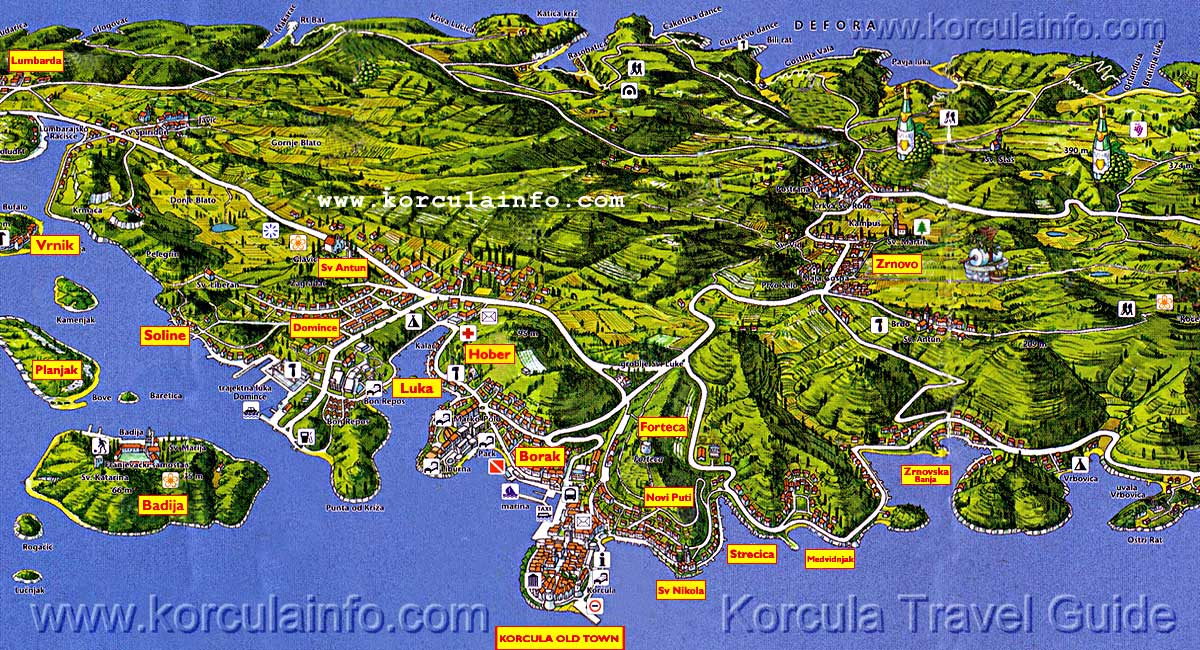 3D Map od Korcula Old Town and Surrounding Area