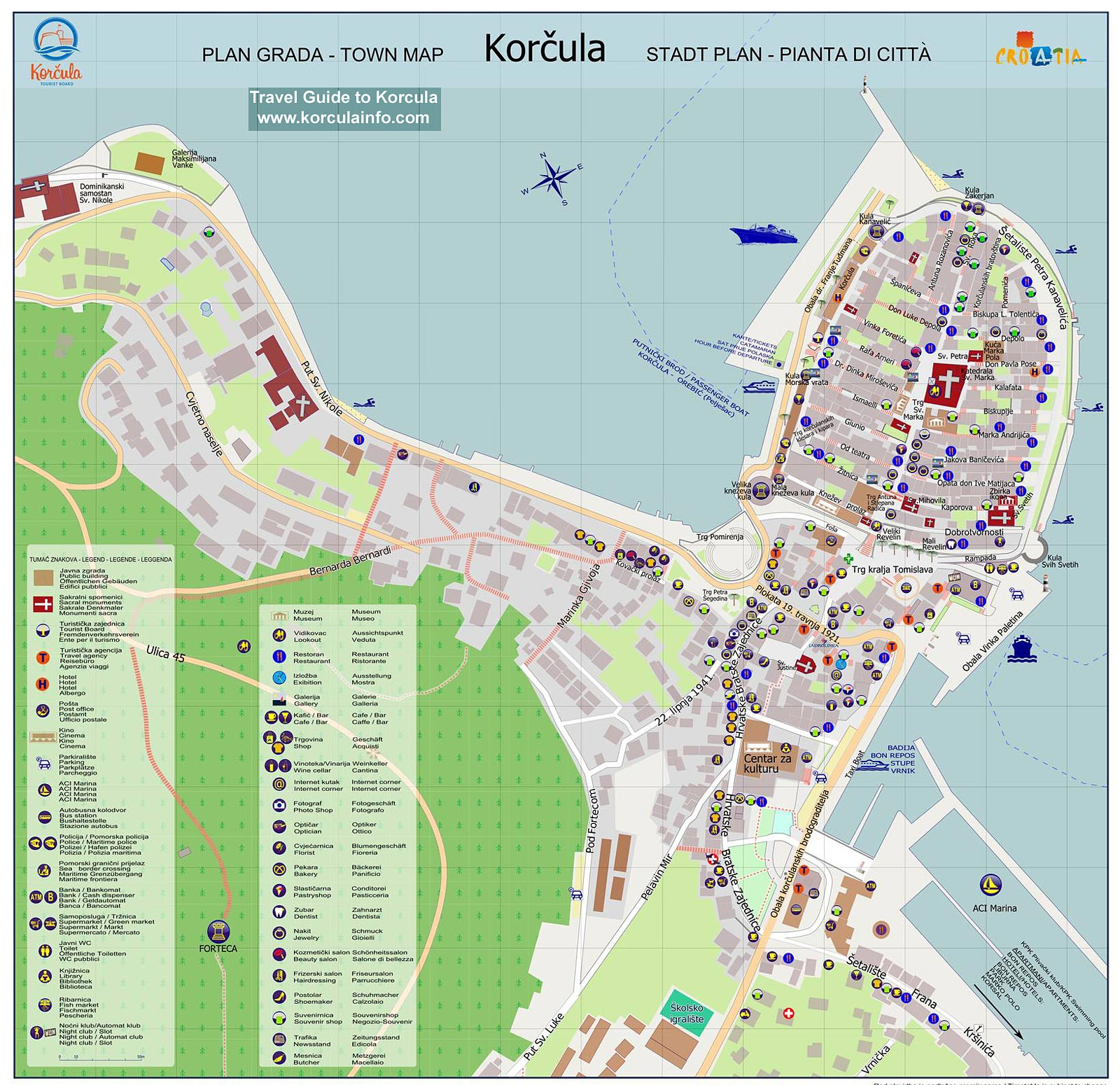 Map of Korcula Town Centre - Old Town and surroundings