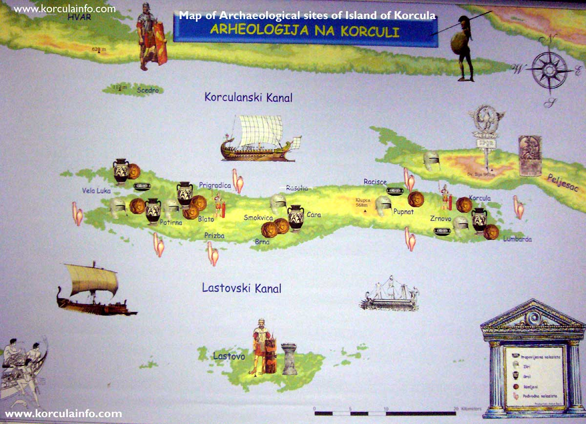 Map of Archaeological Sites of the Island of Korcula