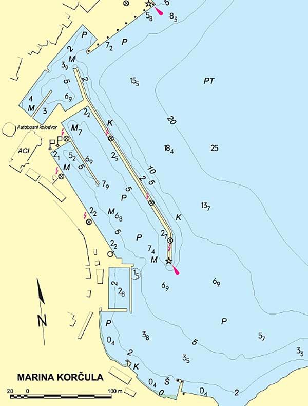 Marina Korcula Map