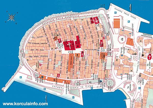 Map of Korcula Old Town