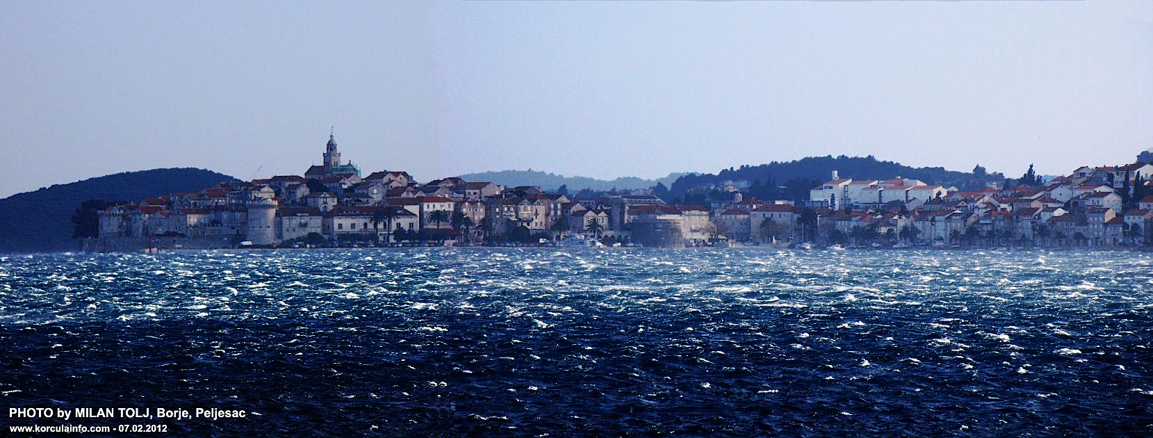 Winter photo of Korcula Town while strong Bura wind was blowing