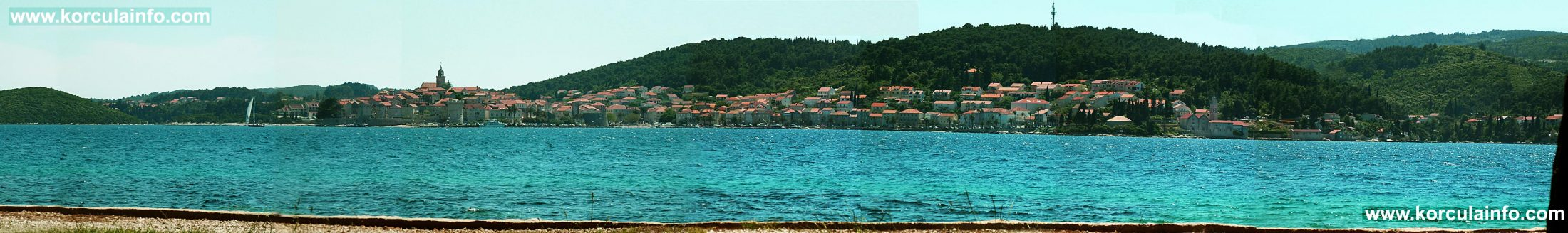 Korcula Old Town and surrounding area viewed from Perna, Peljesac