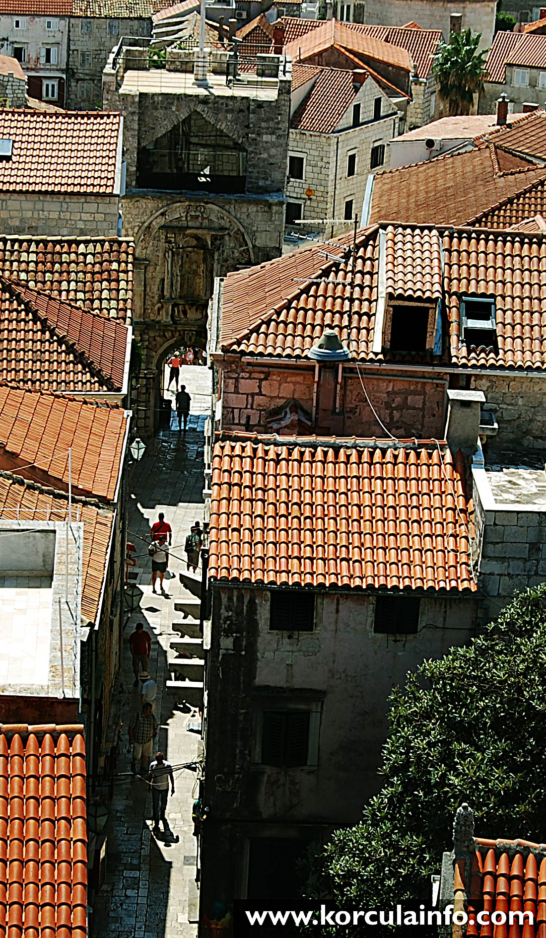 Views over Old Town's entrance from the Tower of St Mark's Cathedral