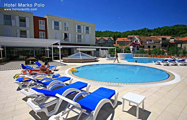 Swimming pool and surroundings at Hotel Marko Polo