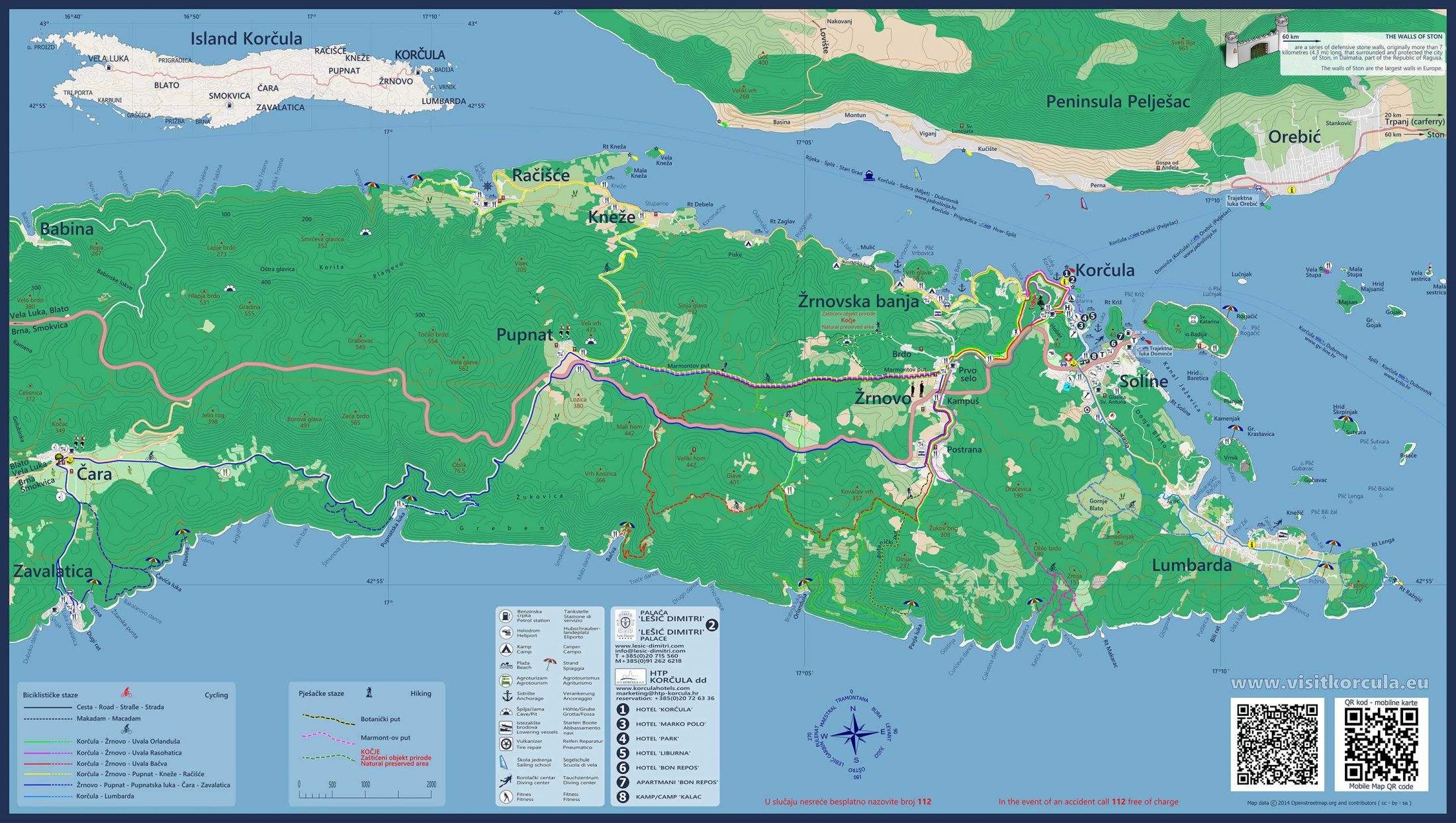 Map of West Part of Korcula Island