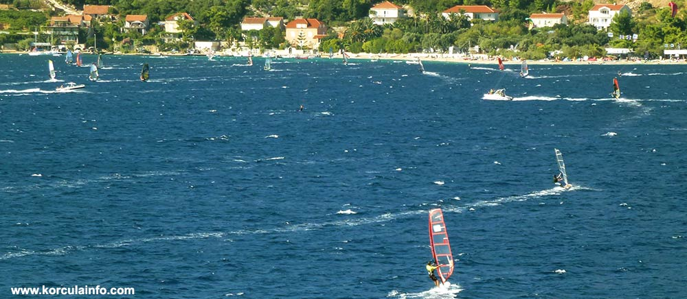 Windsurfers in Korcula