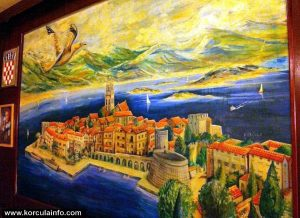 Painting of Korcula in Berlin restaurant