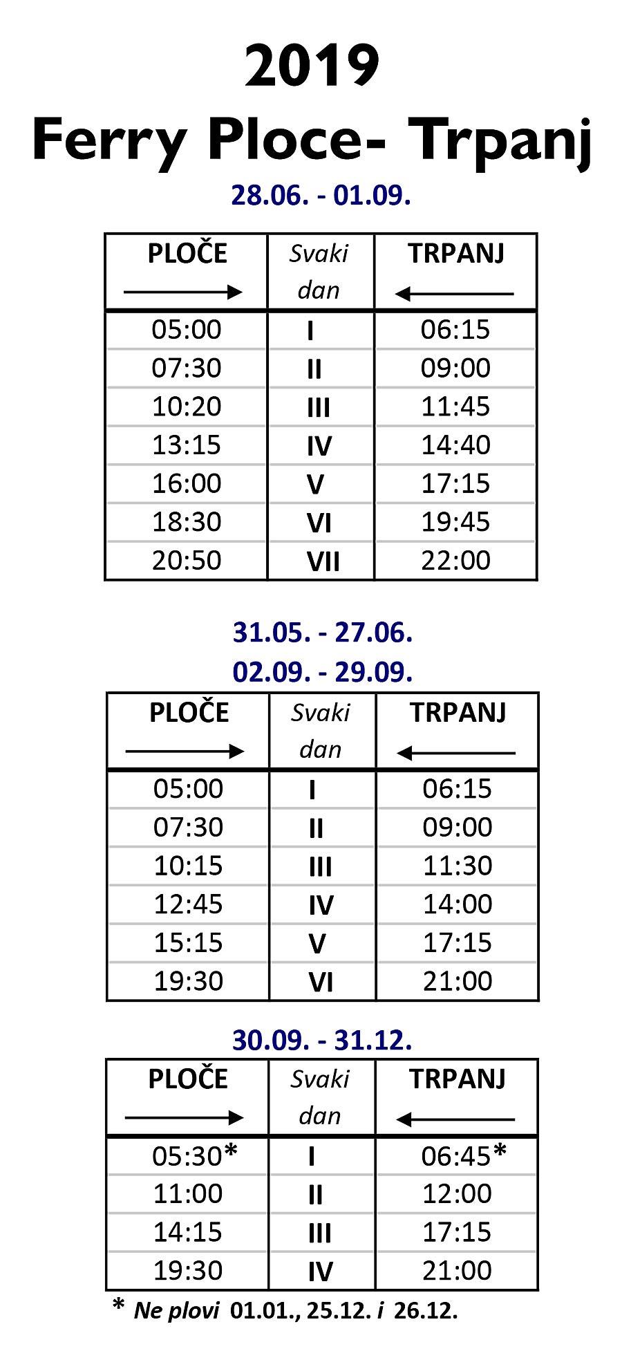 Ploce - Trpanj Ferry Timetable