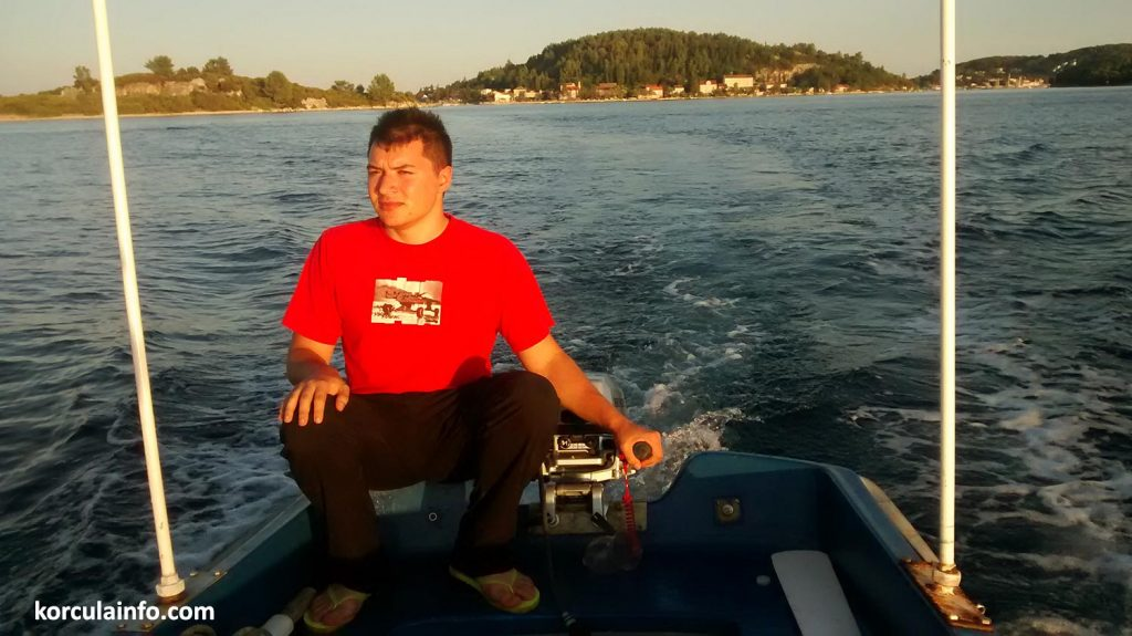 Driving a simple 4 horsepower engine boat from Vrnik island to Korcula Old Town