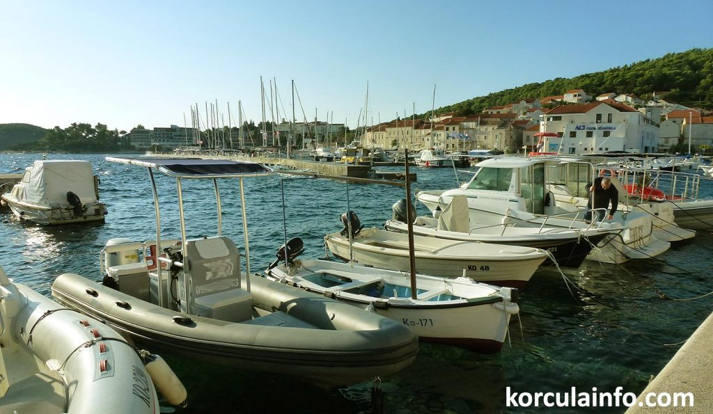 Selection of boat for rent in the Korcula town marina