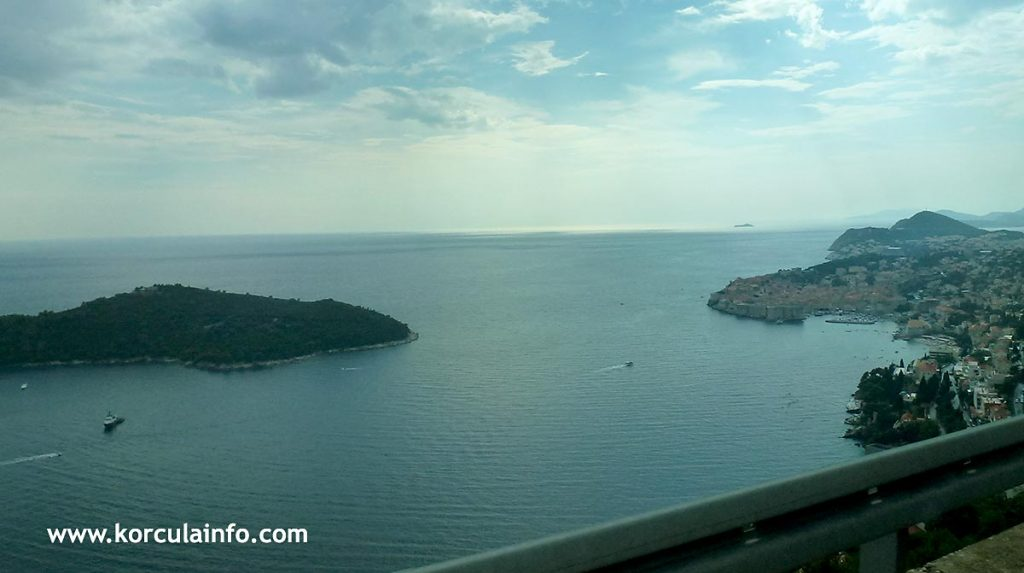 Views over Dubrovnik Old Town while driving from the airport to Korcula