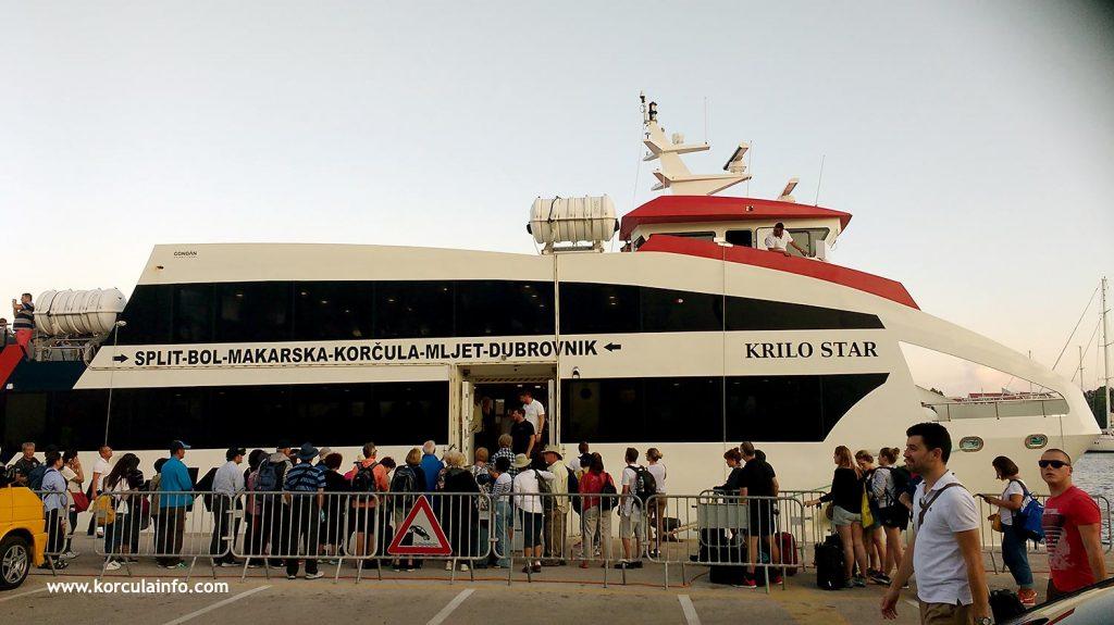 Foot passenger fast catamaran ferry arrived in Korcula