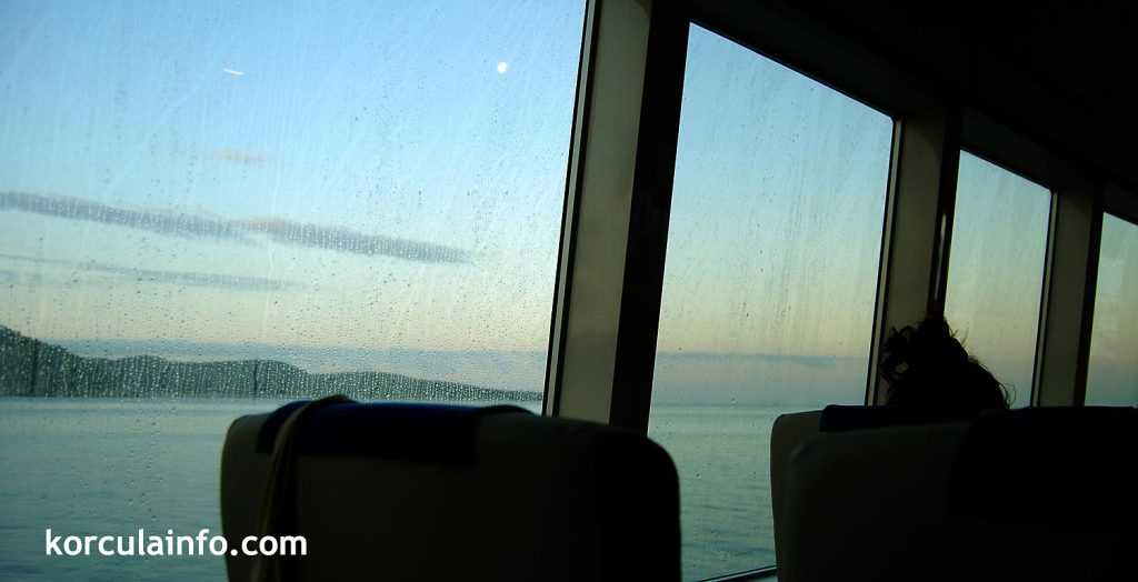 Enjoying the views on a fast ferry to Korcula