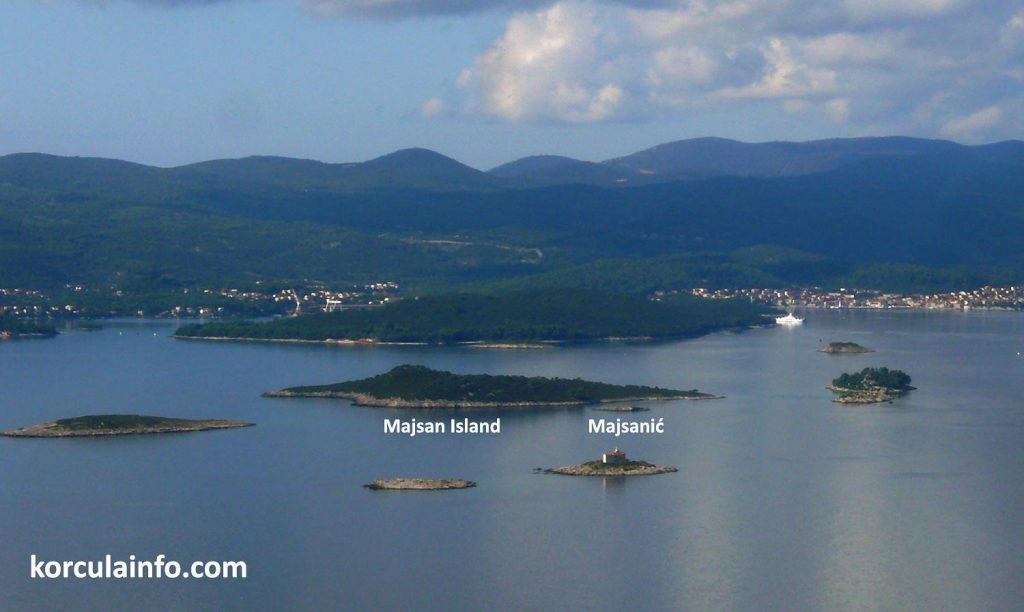 Majsan island and neighbouring Majsanić islet in Korcula Archipelago
