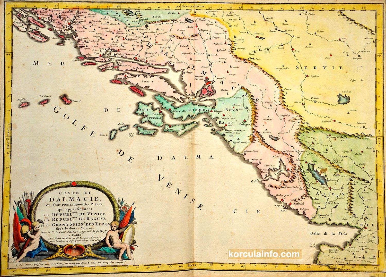 Map of Korcula and Dalmatian Coast (1664)