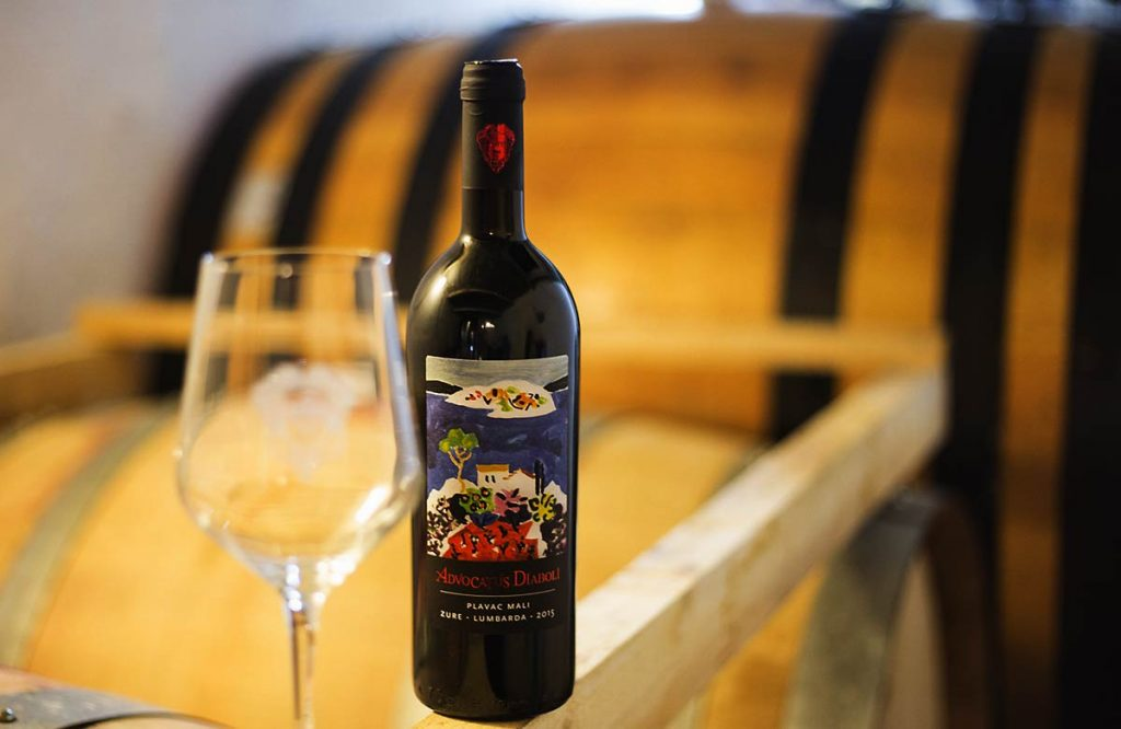 Local red wine produced in family-owned vineyards